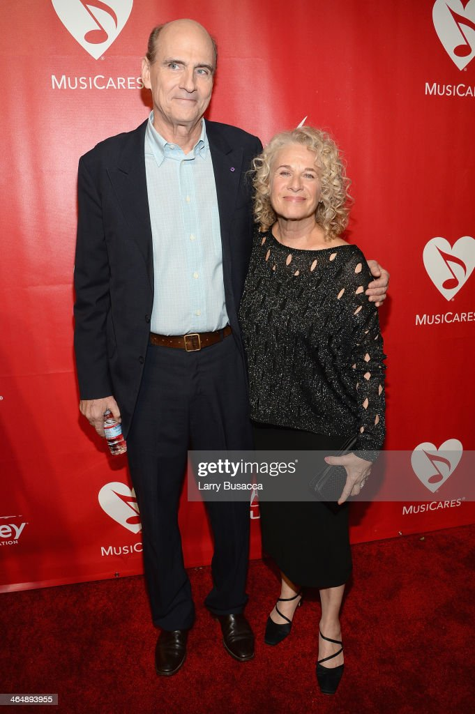 Recording artist James Taylor (L) and honoree <a gi-track='captionPersonalityLinkClicked' href=/galleries/search?phrase=Carole+King+-+Musician&family=editorial&specificpeople=211440 ng-click='$event.stopPropagation()'>Carole King</a> attend 2014 MusiCares Person Of The Year Honoring <a gi-track='captionPersonalityLinkClicked' href=/galleries/search?phrase=Carole+King+-+Musician&family=editorial&specificpeople=211440 ng-click='$event.stopPropagation()'>Carole King</a> at Los Angeles Convention Center on January 24, 2014 in Los Angeles, California.