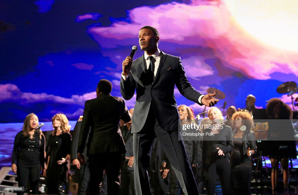 Recording artist Jamie Foxx performs onstage at A+E Networks 'Shining A Light' concert at The Shrine Auditorium on November 18, 2015 in Los Angeles, California.