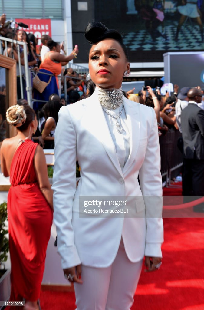Recording artist <a gi-track='captionPersonalityLinkClicked' href=/galleries/search?phrase=Janelle+Monae&family=editorial&specificpeople=715847 ng-click='$event.stopPropagation()'>Janelle Monae</a> attends the P&G Red Carpet Style Stage at the 2013 BET Awards at Nokia Theatre L.A. Live on June 30, 2013 in Los Angeles, California.