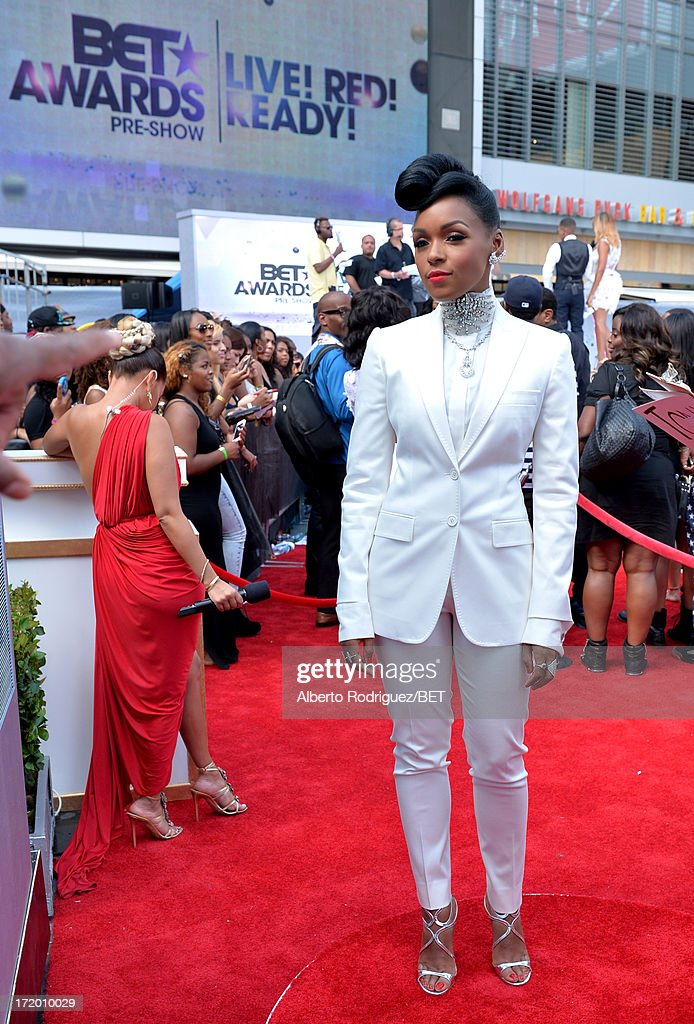 Recording artist Janelle Monae attends the PG Red Carpet Style Stage at the 2013 BET Awards at Nokia Theatre LA Live on June 30 2013 in Los Angeles...