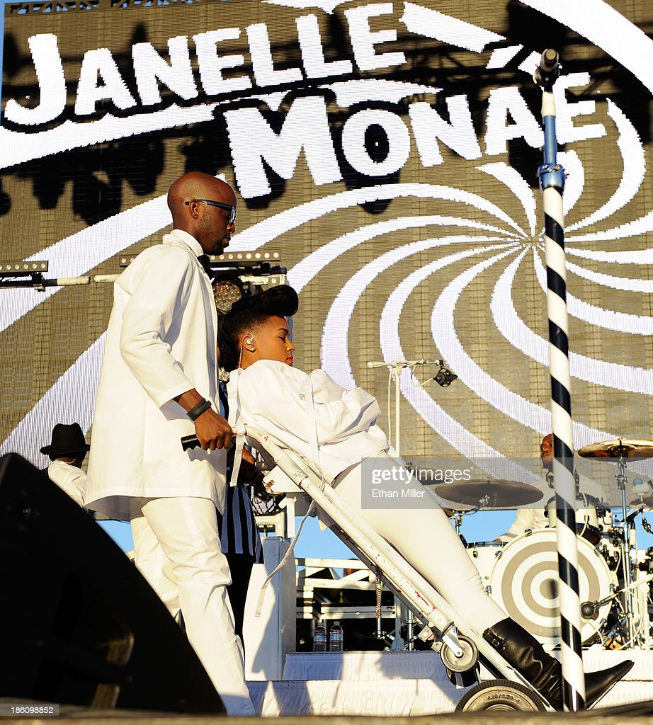 Recording artist Janelle Monae is wheeled onto the stage during the Life is Beautiful festival on October 27, 2013 in Las Vegas, Nevada.