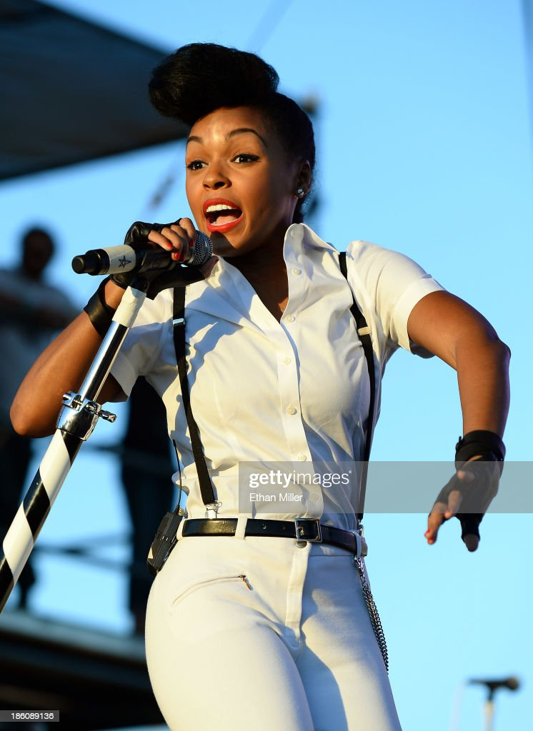 Recording artist <a gi-track='captionPersonalityLinkClicked' href=/galleries/search?phrase=Janelle+Monae&family=editorial&specificpeople=715847 ng-click='$event.stopPropagation()'>Janelle Monae</a> performs during the Life is Beautiful festival on October 27, 2013 in Las Vegas, Nevada.
