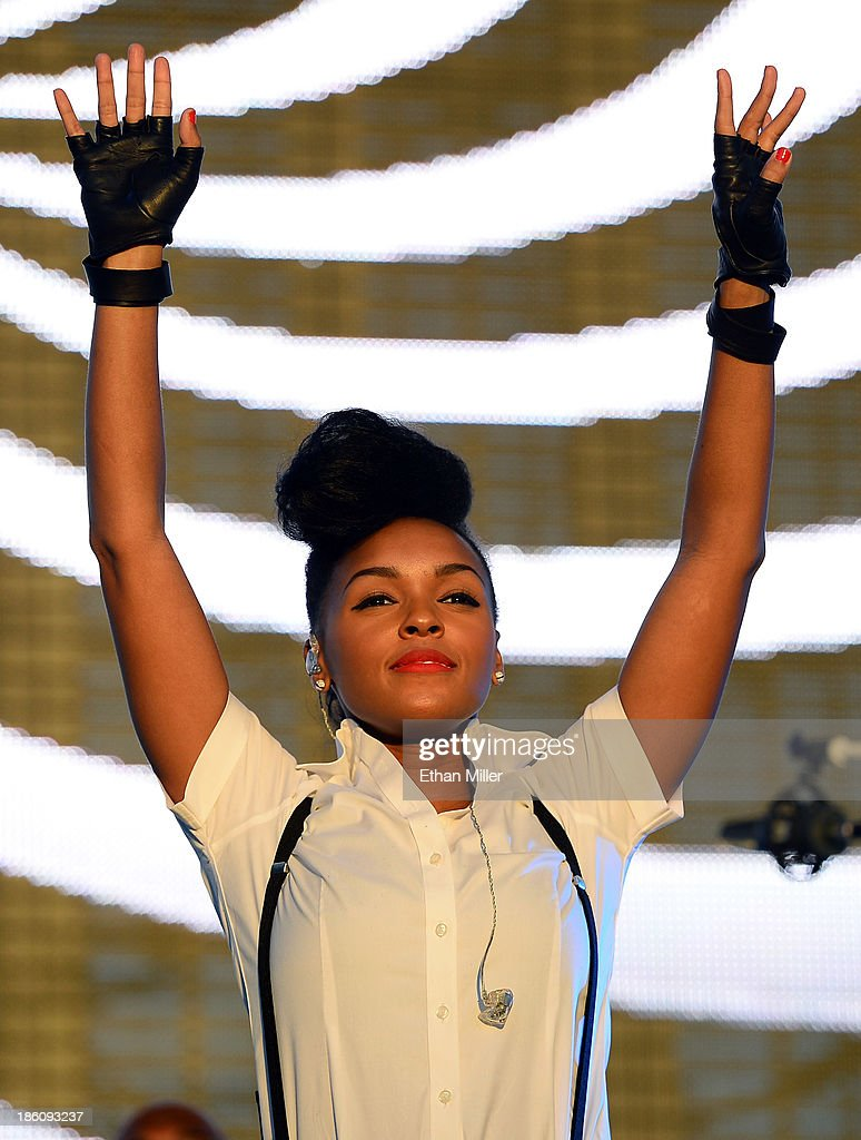Recording artist Janelle Monae performs during the Life is Beautiful festival on October 27, 2013 in Las Vegas, Nevada.