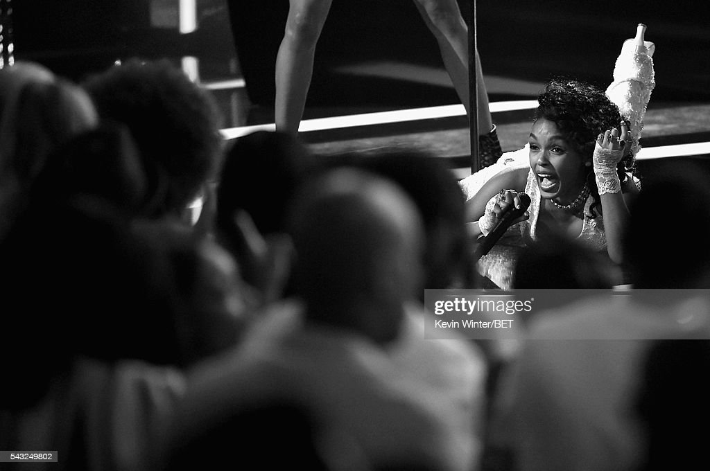 Recording artist <a gi-track='captionPersonalityLinkClicked' href=/galleries/search?phrase=Janelle+Monae&family=editorial&specificpeople=715847 ng-click='$event.stopPropagation()'>Janelle Monae</a> performs onstage during the 2016 BET Awards at the Microsoft Theater on June 26, 2016 in Los Angeles, California.