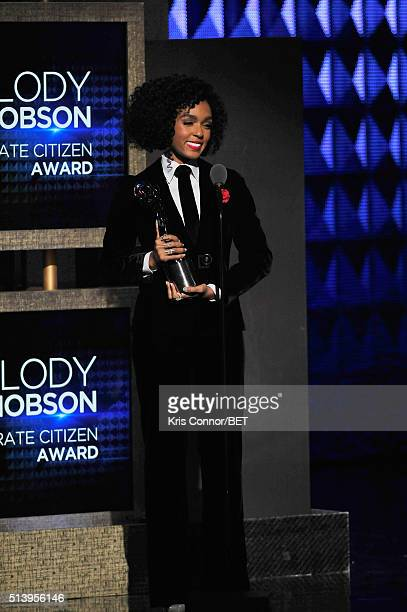Recording artist Janelle Monae speaks on stage during the BET Honors 2016 Show at Warner Theatre on March 5 2016 in Washington DC