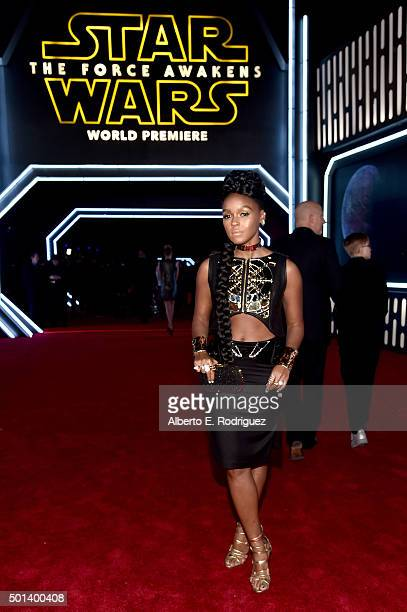 "Recording artist Janelle Monáe attends the World Premiere of ""Star Wars The Force Awakens"" at the Dolby El Capitan and TCL Theatres on December 14..."