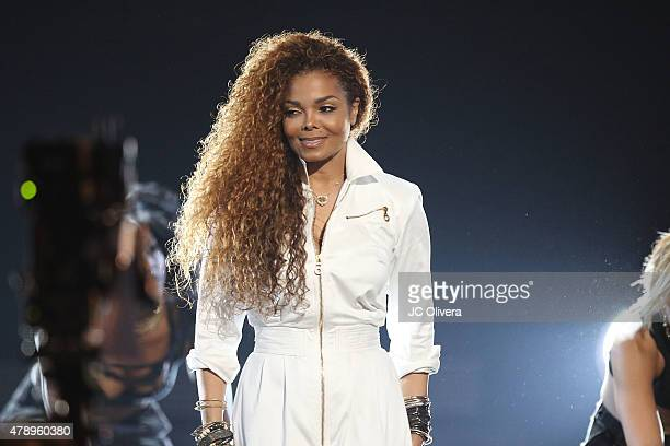 Recording artist Janet Jackson on stage during the 2015 BET Awards on June 28 2015 in Los Angeles California