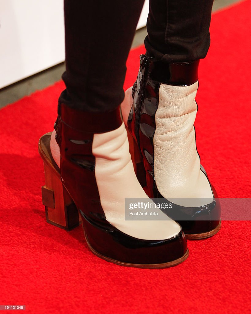 Recording Artist Jasmine Villegas (Shoe Detail) attends the Los Angeles premiere of 'A Resurrection' at the ArcLight Sherman Oaks on March 19, 2013 in Sherman Oaks, California.