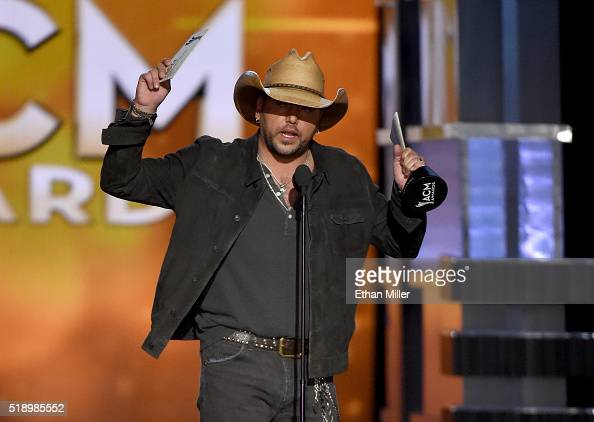 Recording artist Jason Aldean accepts the Entertainer of the Year award onstage during the 51st Academy of Country Music Awards at MGM Grand Garden...