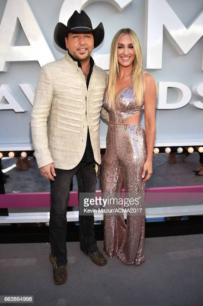 Recording artist Jason Aldean and Brittany Kerr attend the 52nd Academy Of Country Music Awards at Toshiba Plaza on April 2 2017 in Las Vegas Nevada