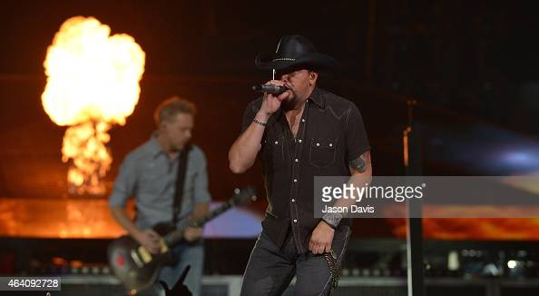 Recording artist Jason Aldean performs during his Burn It Down Tour at Bridgestone Arena on February 21 2015 in Nashville Tennessee