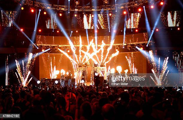 Recording artist Jason Aldean peforms during the 50th Academy of Country Music Awards at ATT Stadium on April 19 2015 in Arlington Texas