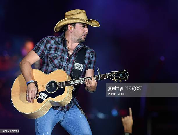 Recording artist Jason Aldean performs during the Route 91 Harvest country music festival at the MGM Resorts Village on October 5 2014 in Las Vegas...