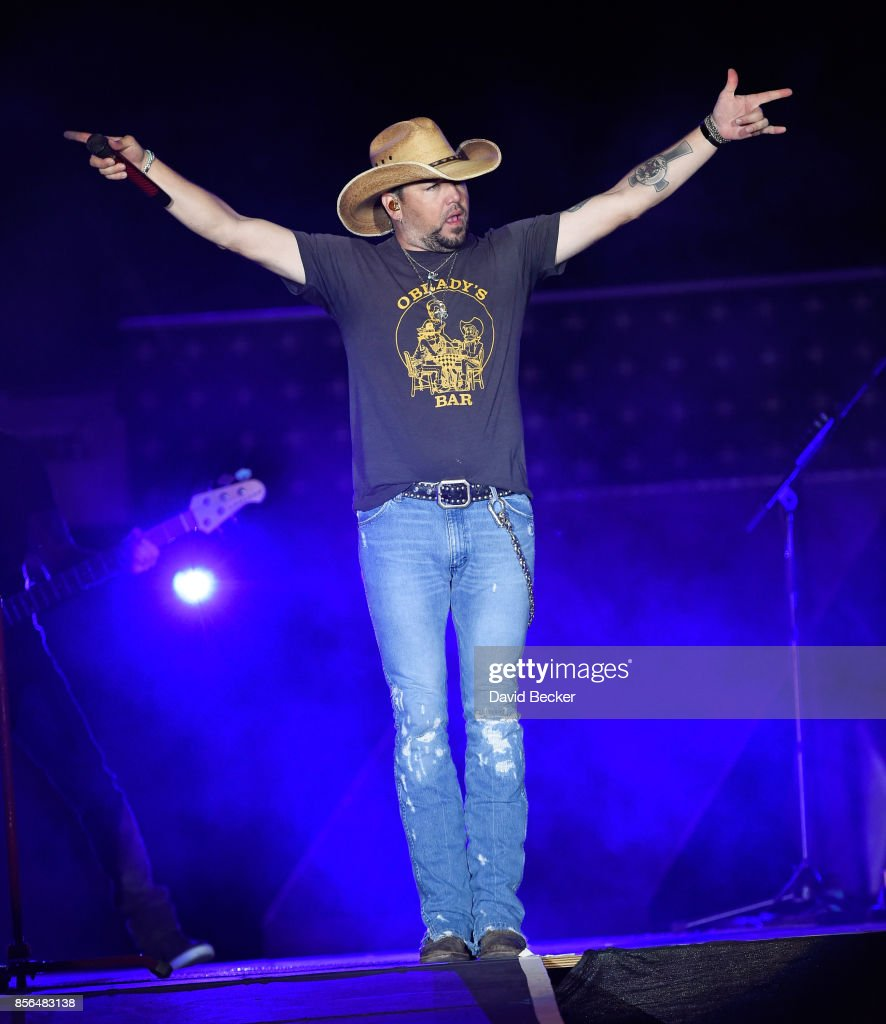 Recording artist Jason Aldean performs during the Route 91 Harvest country music festival, shortly before a gunman opened fire, at the Las Vegas Village on October 1, 2017 in Las Vegas, Nevada.