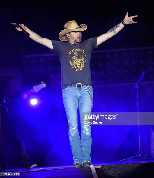 Recording artist Jason Aldean performs during the Route 91 Harvest country music festival shortly before a gunman opened fire at the Las Vegas...