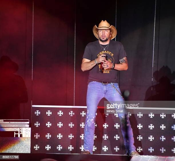 Recording artist Jason Aldean performs during the Route 91 Harvest country music festival at the Las Vegas Village on October 1 2017 in Las Vegas...