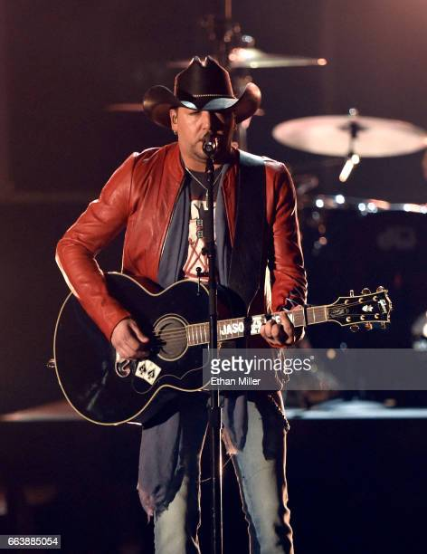 Recording artist Jason Aldean performs onstage during the 52nd Academy of Country Music Awards at TMobile Arena on April 2 2017 in Las Vegas Nevada