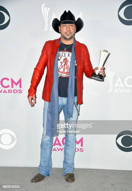 Recording artist Jason Aldean winner of the Entertainer of the Year award poses in the press room during the 52nd Academy Of Country Music Awards at...