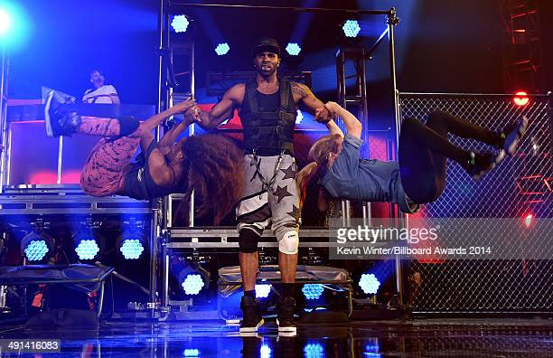 Recording artist Jason Derulo rehearses onstage during the 2014 Billboard Music Awards at the MGM Grand Garden Arena on May 16 2014 in Las Vegas...