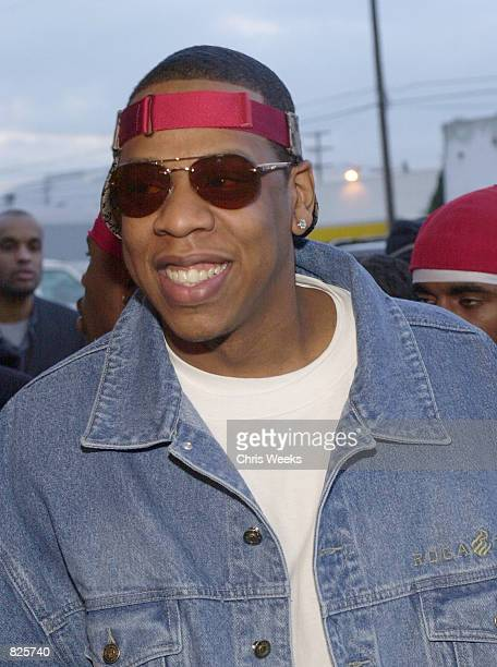 Recording artist Jay Z arrives at the 15th Annual Soul Train Awards February 28 2001 at the Shrine Auditorium in Los Angeles CA