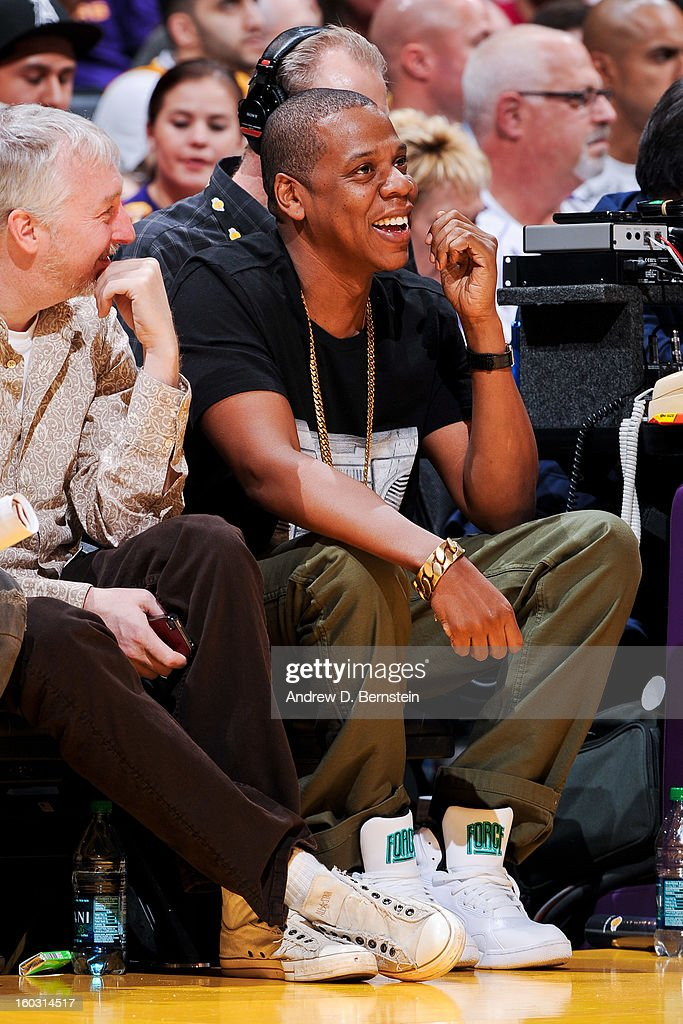 Recording artist Jay-Z attends a game between the Oklahoma City Thunder and Los Angeles Lakers at Staples Center on January 27, 2013 in Los Angeles, California.