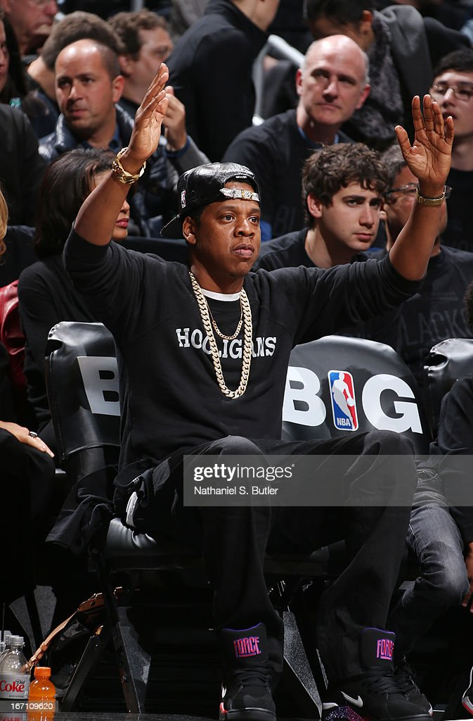 Recording Artist, Jay-Z, attends Game One of the Eastern Conference Quarterfinals between the Chicago Bulls and the Brooklyn Nets during the 2013 NBA Playoffs on April 20 at the Barclays Center in the Brooklyn borough of New York City.