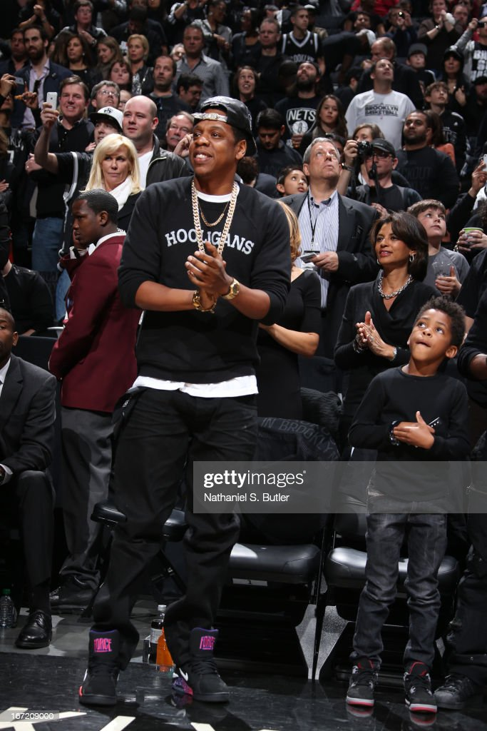 Recording artist Jay-Z during the game between the Brooklyn Nets and the Chicago Bulls in Game One of the Eastern Conference Quarterfinals during the 2013 NBA Playoffs on April 20 at the Barclays Center in the Brooklyn borough of New York City.