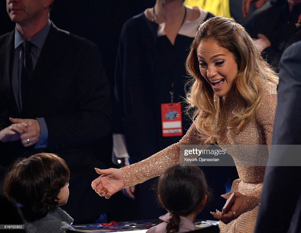 Recording artist Jennifer Lopez greets her children during FOX's 'American Idol' Finale For The Farewell Season at Dolby Theatre on April 7, 2016 in Hollywood, California. at Dolby Theatre on April 7, 2016 in Hollywood, California.