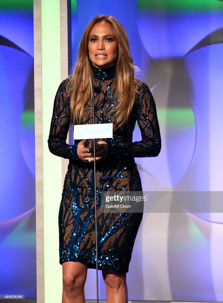 Recording artist Jennifer Lopez onstage during the 25th Annual GLAAD Media Awards at The Beverly Hilton Hotel on April 12, 2014 in Los Angeles, California.