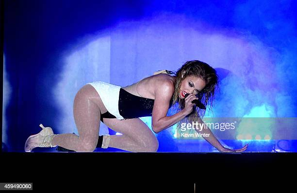Recording artist Jennifer Lopez performs onstage at the 2014 American Music Awards at Nokia Theatre LA Live on November 23 2014 in Los Angeles...