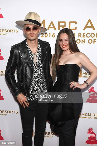 Recording artist Jesse Huerta and Joy Huerta of Jesse y Joy attend the 2016 Person of the Year honoring Marc Anthony at MGM Grand Garden Arena on...