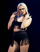 Recording artist Jessie J performs onstage during Rock in Rio USA at the MGM Resorts Festival Grounds on May 15 2015 in Las Vegas Nevada