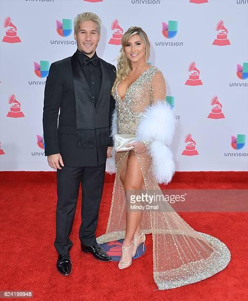 Recording artist Jesus Alberto Miranda Perez of Chino and Natasha Araos attend the 17th Annual Latin Grammy Awards at TMobile Arena on November 17...