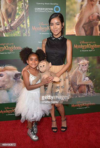 Recording artist Jhene Aiko and daughter Namiko Love Browner attend the world premiere Of Disney's 'Monkey Kingdom' at Pacific Theatres at The Grove...