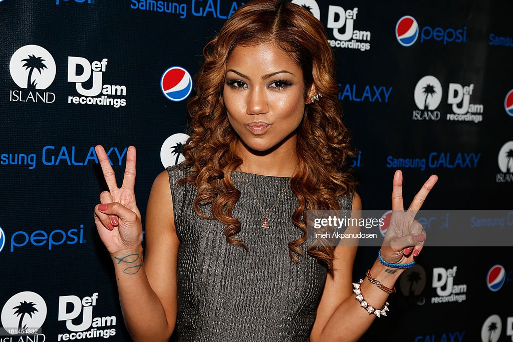 Recording artist Jhene Aiko attends the Island Def Jam Grammy Party sponsored by Samsung and Pepsi at Osteria Mozza on February 10, 2013 in Los Angeles, California.