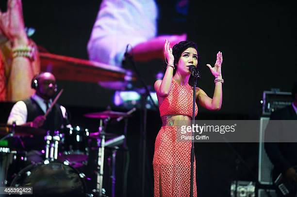 Recording artist Jhene Aiko performs during 2014 ONE Musicfest at Aaron's Amphitheater at Lakewood on September 13 2014 in Atlanta Georgia