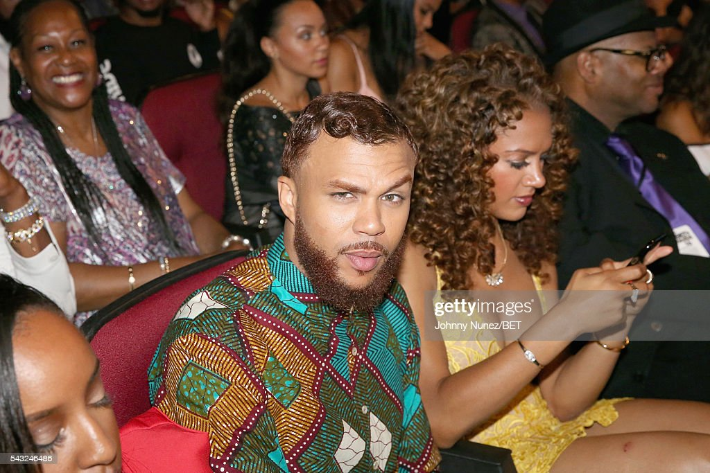 Recording artist <a gi-track='captionPersonalityLinkClicked' href=/galleries/search?phrase=Jidenna&family=editorial&specificpeople=12754205 ng-click='$event.stopPropagation()'>Jidenna</a> (L) and basketball analyst Rosalyn Gold-Onwude attend the 2016 BET Awards at the Microsoft Theater on June 26, 2016 in Los Angeles, California.