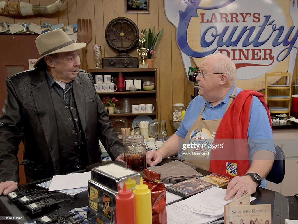 Recording Artist Jim Ed Brown and LCD cast member Larry Black at the taping of RFD TV's 'Larry's Country Diner' Day 2 at NorthStar Studios on February 24, 2015 in Nashville, Tennessee.