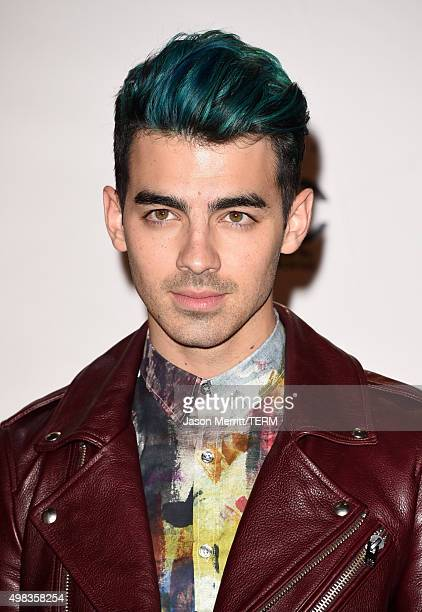 Recording artist Joe Jonas poses in the press room during the 2015 American Music Awards at Microsoft Theater on November 22 2015 in Los Angeles...
