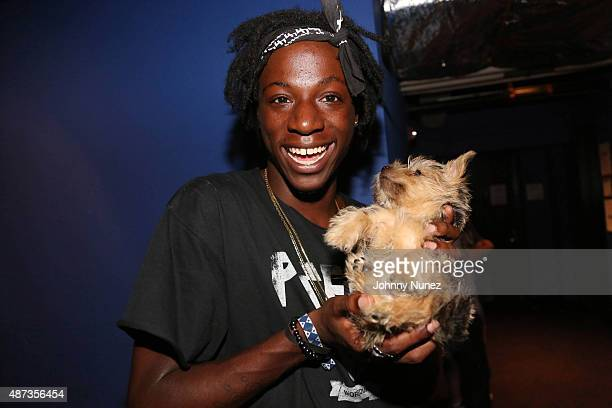 Recording artist Joey Bada$$ backstage at the Island Records Island Life Concert at Best Buy Theater on September 8 in New York City