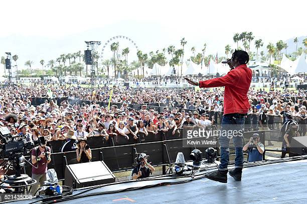 Recording artist Joey Bada$$ performs onstage during day 1 of the 2016 Coachella Valley Music Arts Festival Weekend 1 at the Empire Polo Club on...