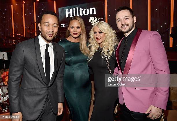 Recording artist John Legend model Chrissy Teigen recording artist Christina Aguilera and Matthew Rutler attend the 2016 PreGRAMMY Gala and Salute to...