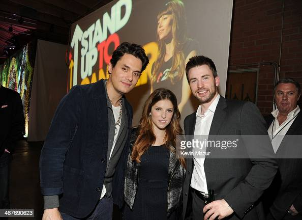 Recording artist John Mayer and actors Anna Kendrick and Chris Evans attend Hollywood Stands Up To Cancer Event with contributors American Cancer...