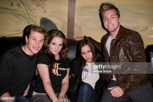 Recording artist Jojo Zelda Williams and recording artist Lance Bass pose at the DWTS Tour KickOff Party for Lance Bass at Yamashiro Restaurant on...