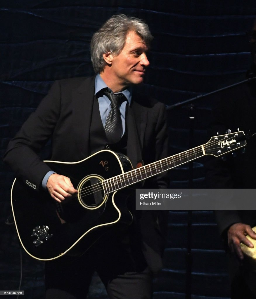 Recording artist Jon Bon Jovi performs during the 21st annual Keep Memory Alive 'Power of Love Gala' benefit for the Cleveland Clinic Lou Ruvo Center for Brain Health honoring Ronald O. Perelman at MGM Grand Garden Arena on April 27, 2017 in Las Vegas, Nevada.