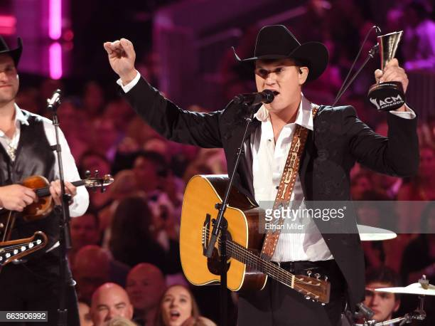 Recording artist Jon Pardi accepts the New Male Vocalist of the Year award presented by TMobile onstage during the 52nd Academy of Country Music...