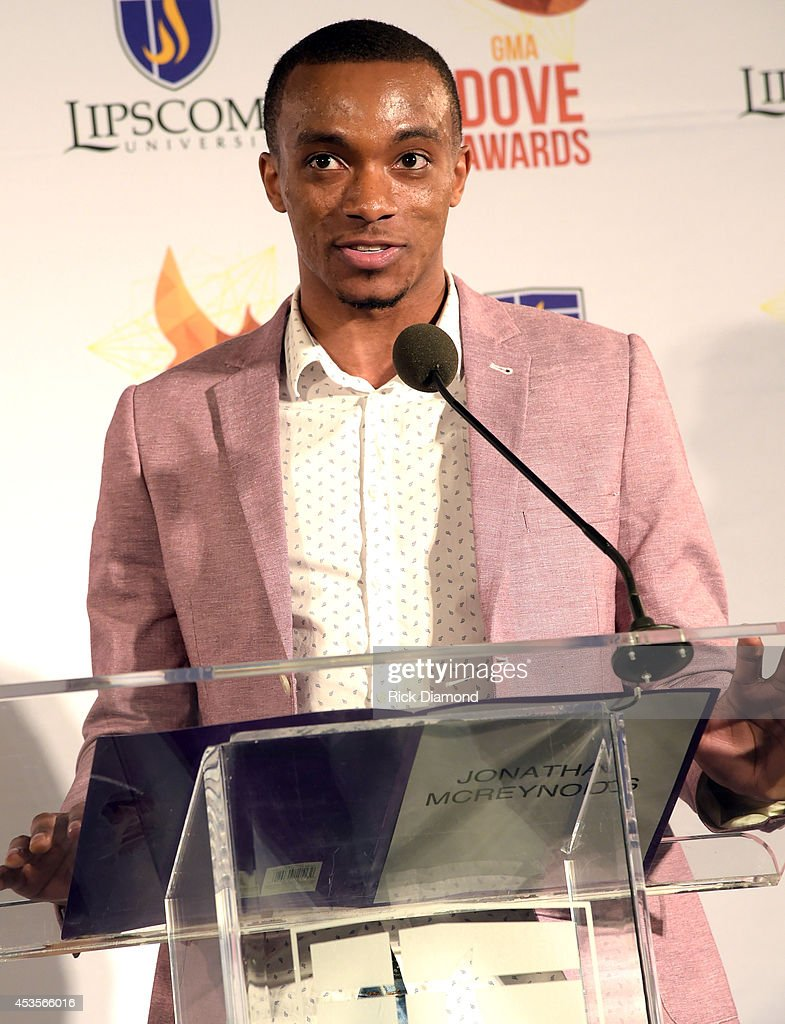 Recording Artist Jonathan McReynolds announces the Dove nominees for the 45th Annual GMA Dove Awards Nominations Press Conference at Allen Arena on Lipscomb University campus, August 13, 2014 in Nashville, Tennessee.