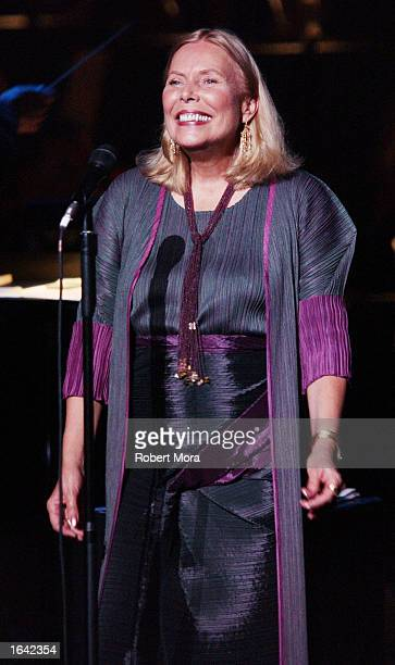 Recording Artist Joni Mitchell performs at the 'Stormy Weather 2002' concert at the Wiltern Theatre on November 13 2002 in Los Angeles California The...