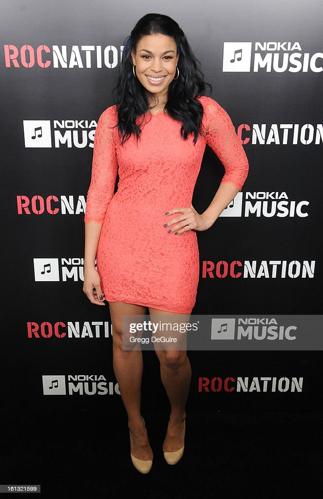 Recording artist <a gi-track='captionPersonalityLinkClicked' href=/galleries/search?phrase=Jordin+Sparks&family=editorial&specificpeople=4165535 ng-click='$event.stopPropagation()'>Jordin Sparks</a> arrives at Roc Nation Pre-GRAMMY brunch at Soho House on February 9, 2013 in West Hollywood, California.