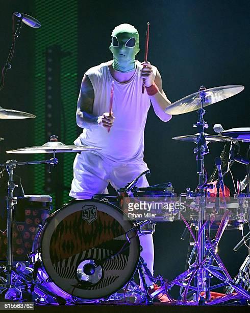 Recording artist Josh Dun of Twenty One Pilots performs at the 2016 iHeartRadio Music Festival at TMobile Arena on September 23 2016 in Las Vegas...